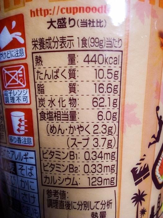 「カップヌードル メープルスモークベーコン味 ビッグ」の栄養成分表示