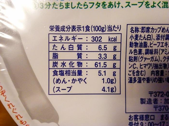 「ペヤング ソースラーメン」の栄養成分表示