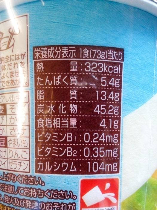「日清焼そばU.F.O.ペロリ 柚子香る鶏しおだれ」の栄養成分表示