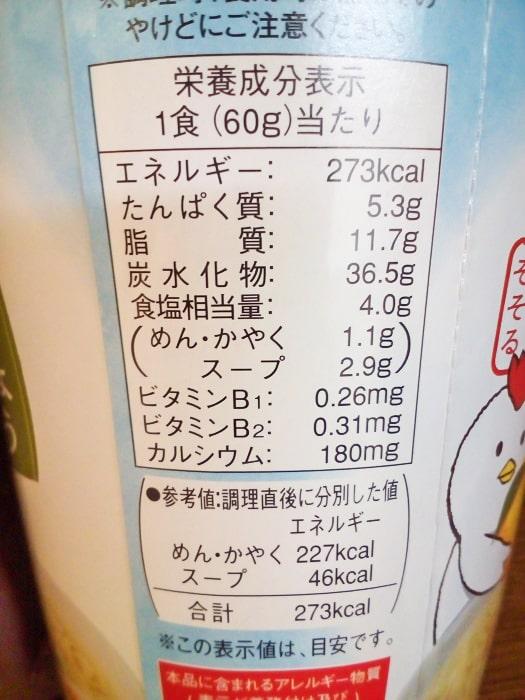 「柚子こしょう仕立ての鶏しおラーメン」の栄養成分表示