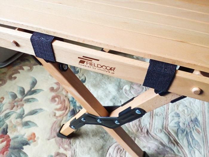「ウッドトップロールテーブル」の天板と脚部分の接続