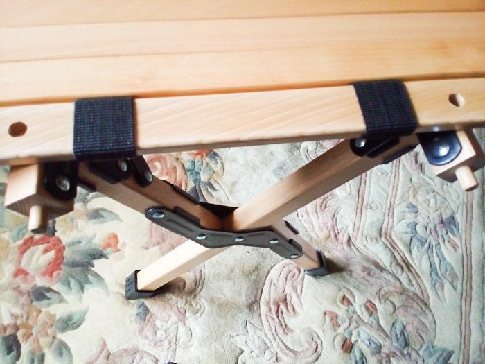 「ウッドトップロールテーブル」のもう片サイドの接続部分
