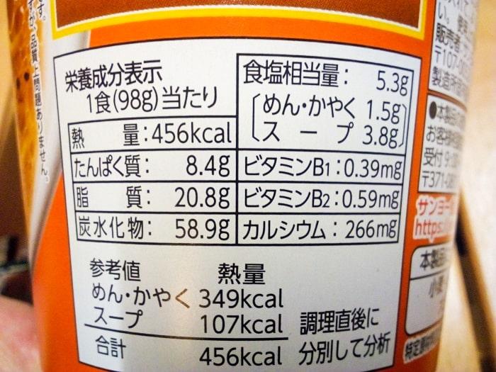 「札幌ラーメンどさん子監修 コーンバター風味噌ラーメン」の栄養成分表示