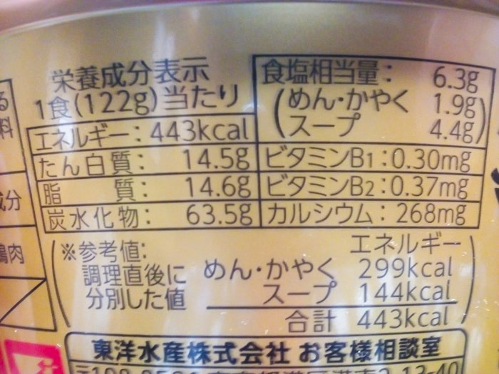 「マルちゃん正麺 カップ 辛ニボ」の栄養成分表示